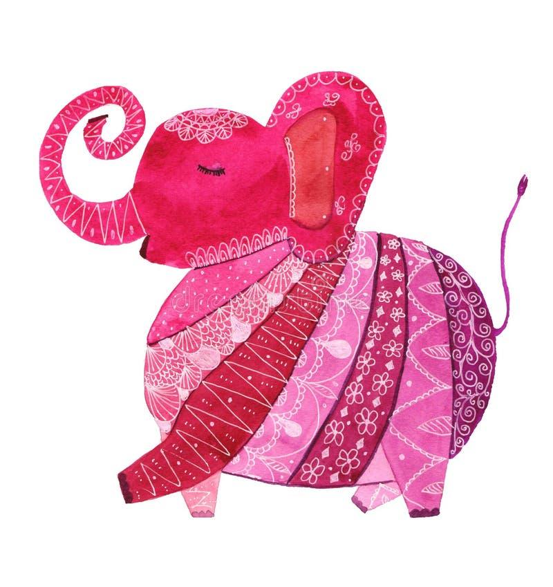 Różowy deseniowy słoń ilustracja wektor