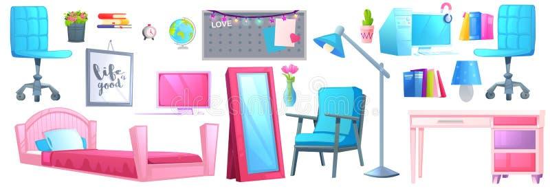 Różowy dziecko pokoju wnętrze z łóżkiem, biurkiem i krzesłem, ilustracji