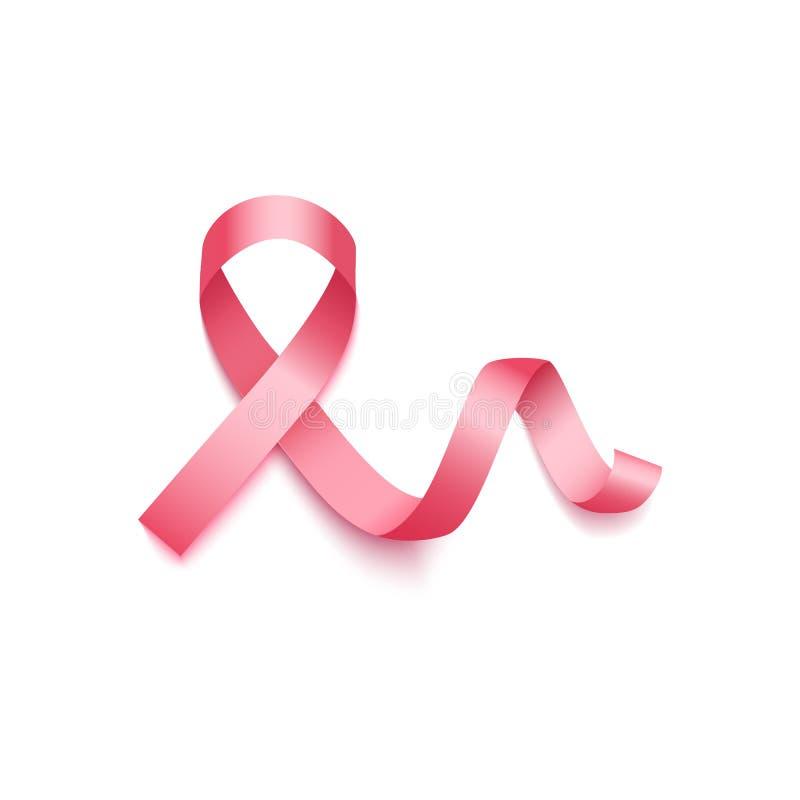 Różowy faborek - symbol nowotwór piersi świadomości miesiąc royalty ilustracja