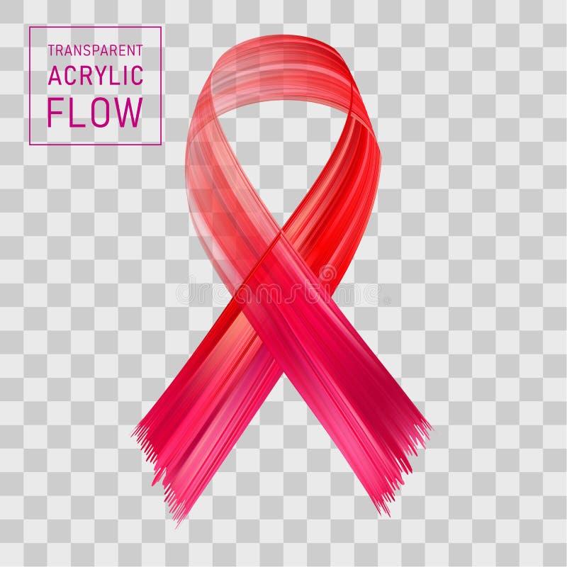 Różowy faborku przepływ, nowotwór piersi świadomości symbol ilustracji