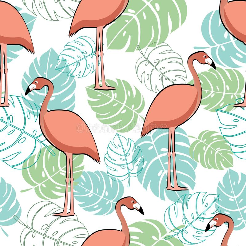Różowy flaming i tropikalnych liści modny bezszwowy wzór fotografia royalty free