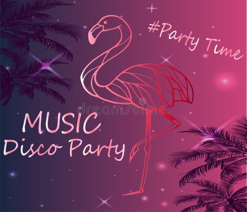 Różowy flaminga plakat - Znajdować przyjęcia dyskoteka royalty ilustracja