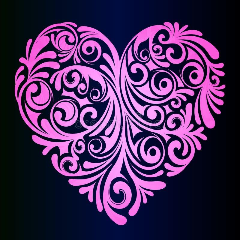 Różowy gradientowy serce, zakończenie Pomysł dla powitanie romantycznej karty Wektorowy serce w wzorach ilustracji