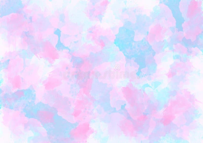 Różowy i Błękitny akwareli tekstury abstrakta tło zdjęcia royalty free