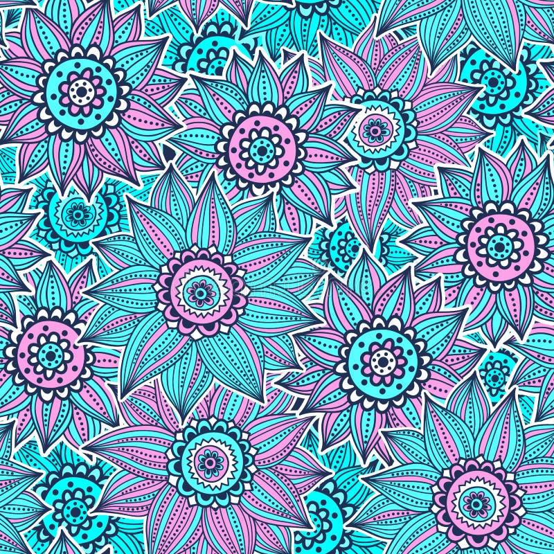 Różowy i błękitny słonecznika wzór royalty ilustracja