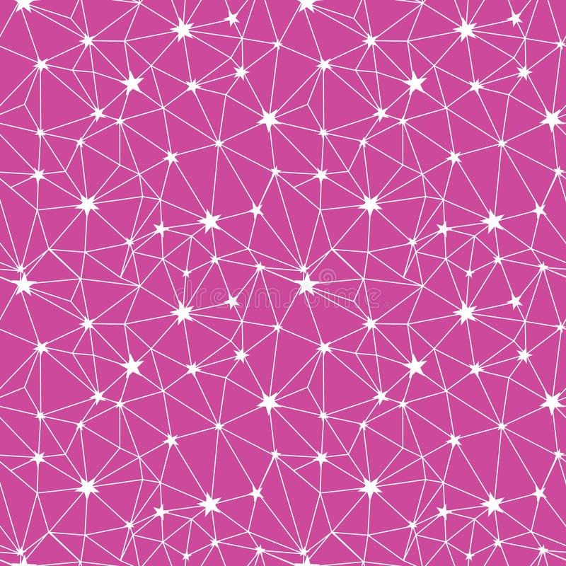 Różowy i biały gwiazdy sieci wektorowy bezszwowy wzór ilustracji