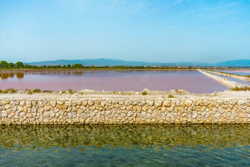 Różowy jezioro w Sardinia wyspie fotografia royalty free