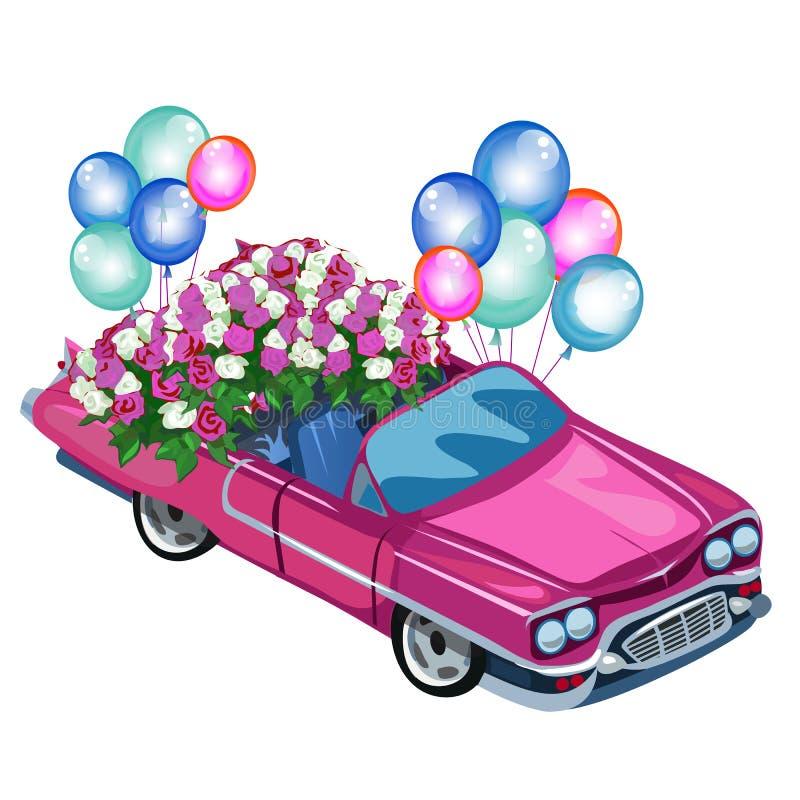Różowy kabriolet z bukietów balonami i kwiatami ilustracja wektor