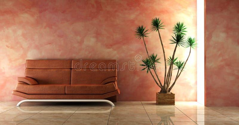różowy kanapy wnętrze ilustracji
