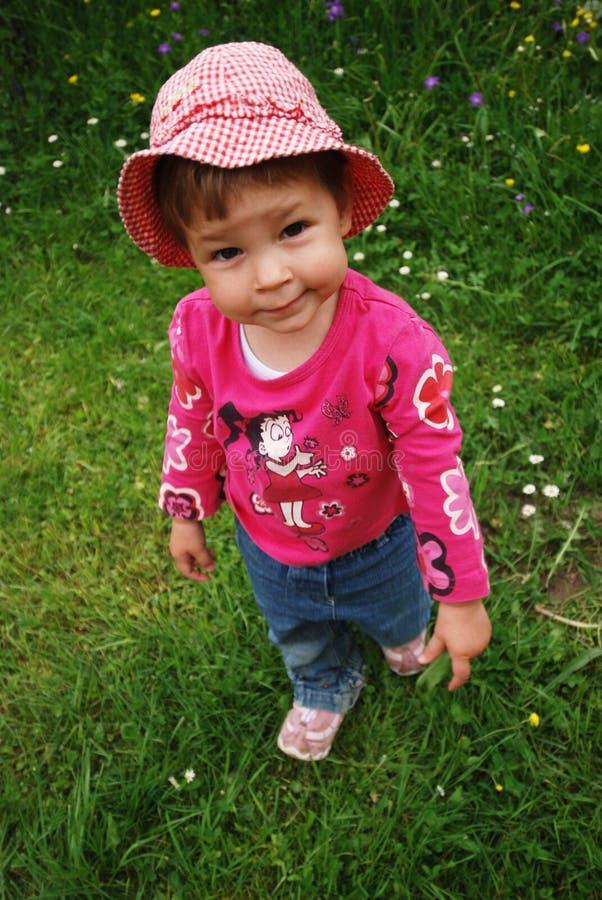 różowy kapelusz dziewczynie obrazy royalty free