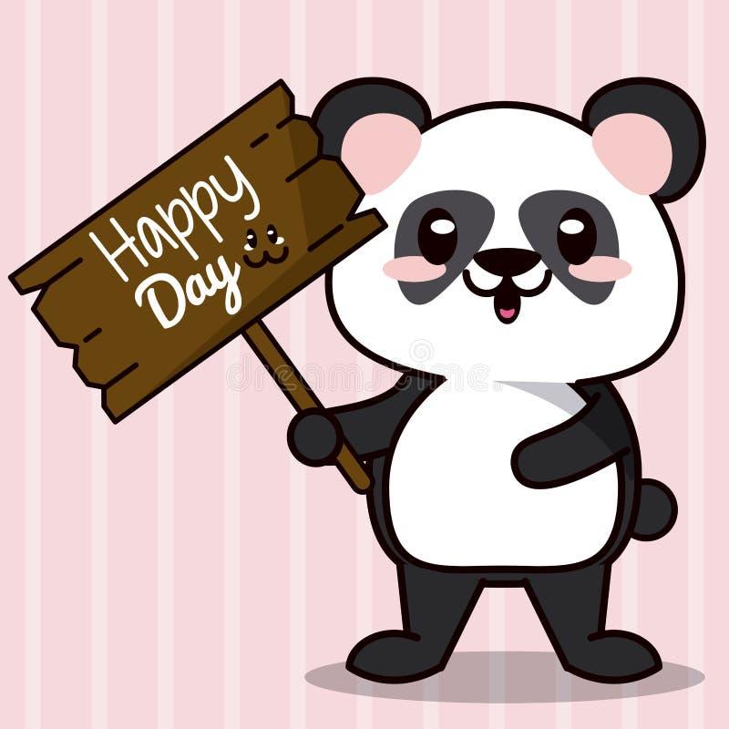Różowy koloru tło z lampas linii sylwetkami i śliczny kawaii zwierzę znosimy pandy pozycję z drewniany szyldowy szczęśliwym ilustracja wektor