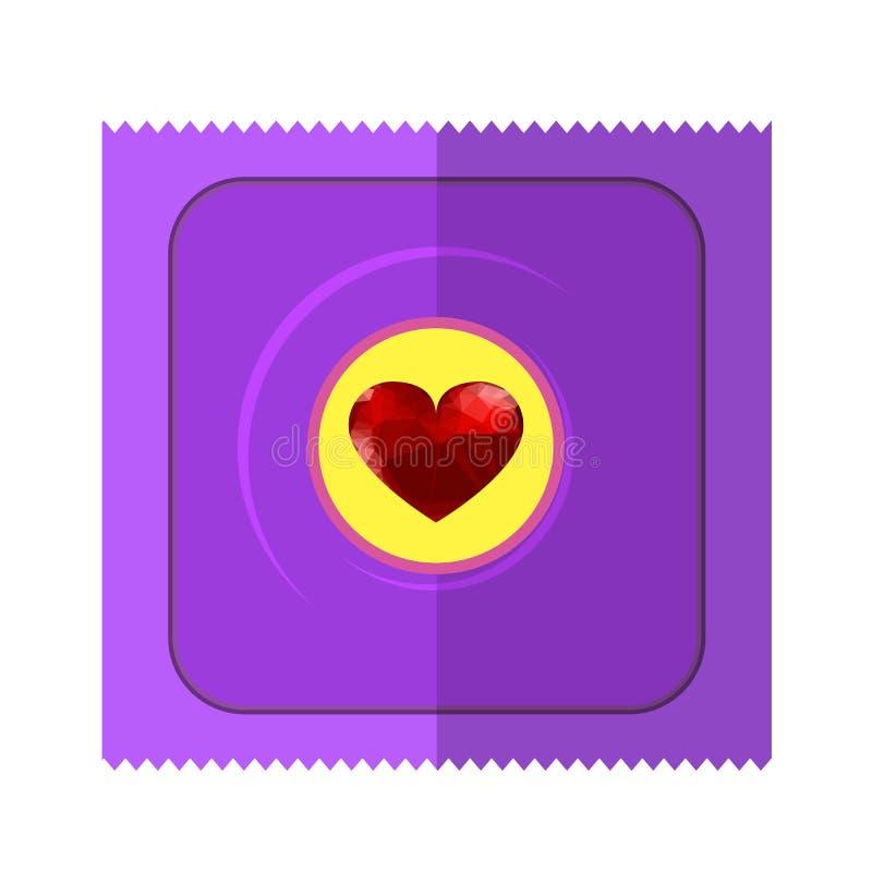Różowy kondom Wpapper z Czerwonym sercem royalty ilustracja