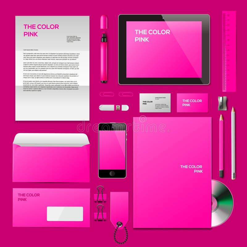 Różowy Korporacyjny ID mockup ilustracja wektor