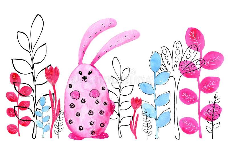 Różowy królik, królik do granicy Rysujący w akwareli i grafiki stylu dla projekta druki, tła, karty, poślubia ilustracja wektor