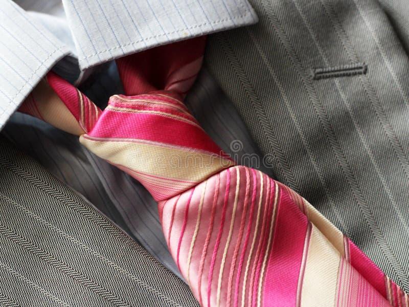 Różowy krawat i popielata mężczyzna kurtka zdjęcie royalty free