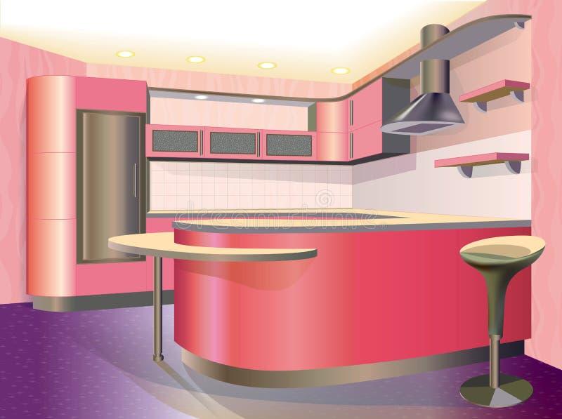 Różowy kuchenny wnętrze ilustracji