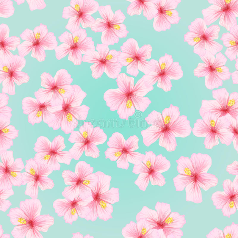Różowy kwiat, Sakura bezszwowy wzór Japoński czereśniowy okwitnięcie dla tkanina tekstylnego projekta royalty ilustracja