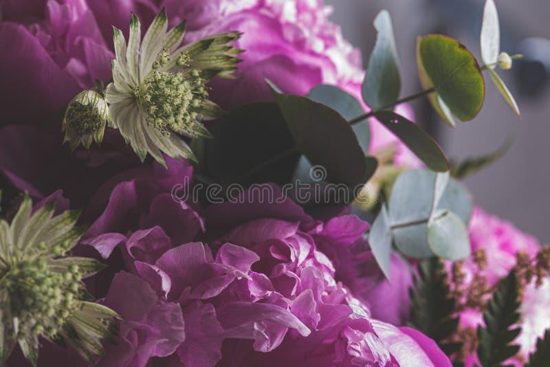 Różowy kwiatu bukiet makro- wciąż fotografia stock