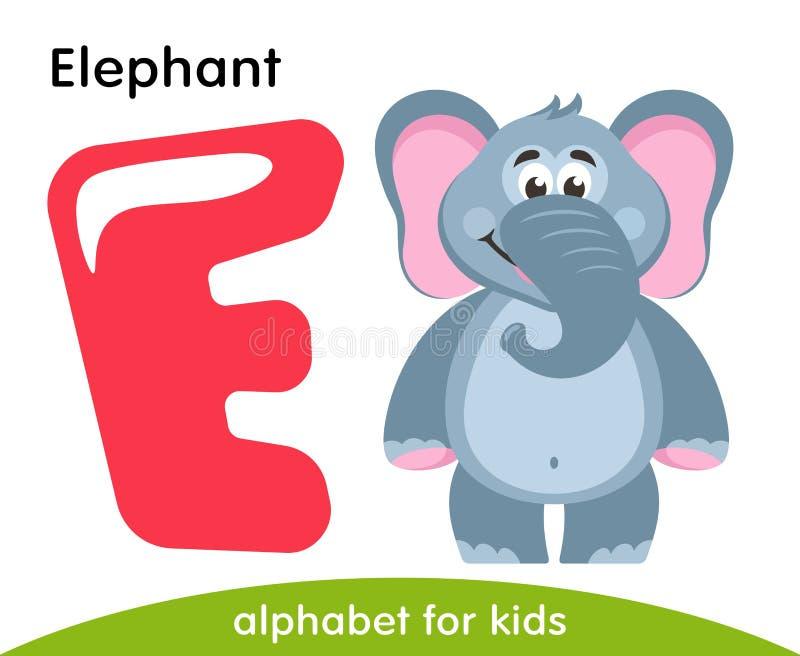 Różowy list E i szary słoń ilustracji