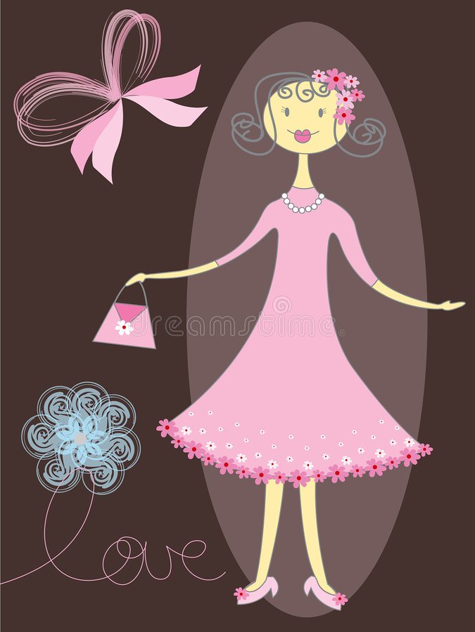 różowy miłe dziewczyny royalty ilustracja