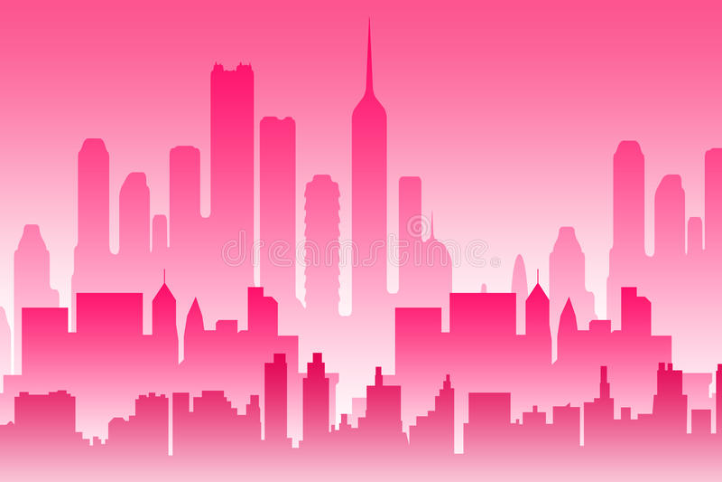 Różowy miasto ilustracja wektor