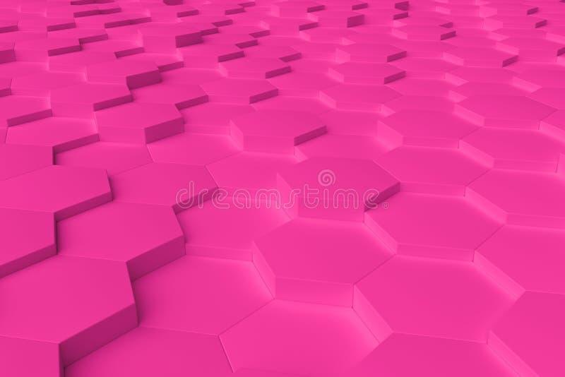 Różowy monochromatyczny sześciokąt tafluje abstrakcjonistycznego tło zdjęcie stock