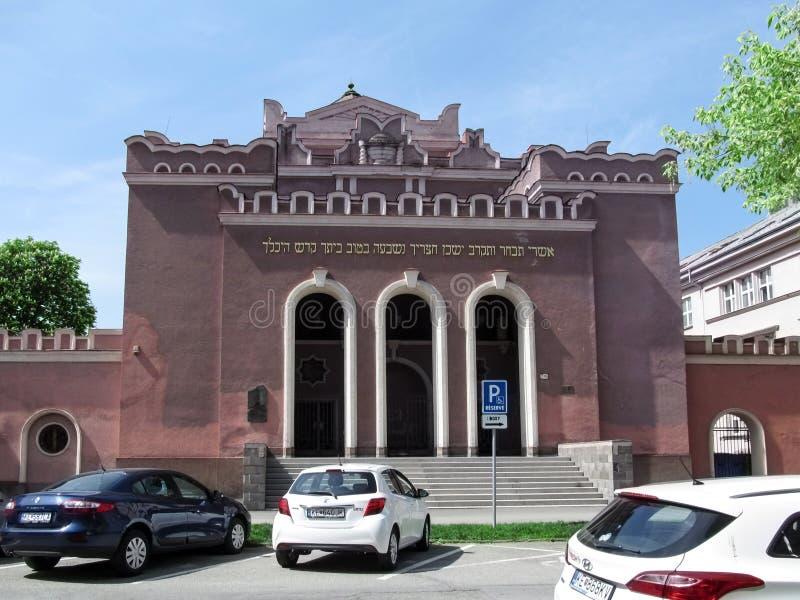Różowy neoklasyczny budynek nowa Ortodoksalna synagoga na Puskinova ulicie w Kosice zdjęcia stock