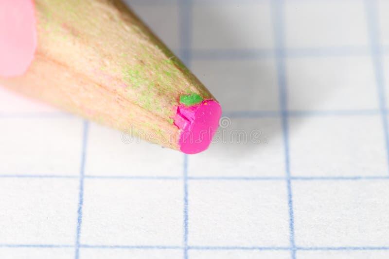 Różowy ołówek na papierze Makro- fotografia stock