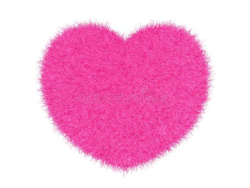 3d różowy owłosiony serce fotografia stock