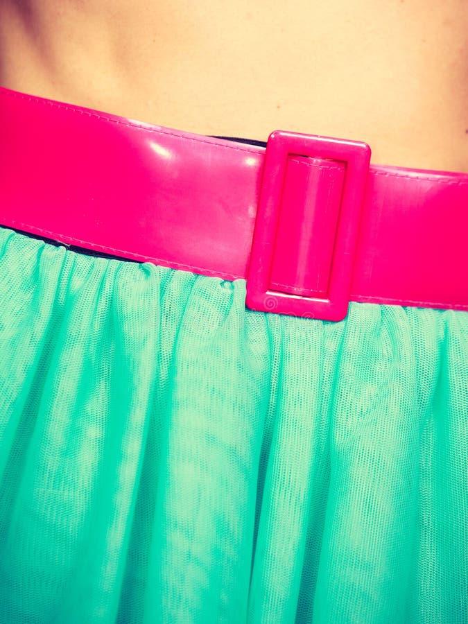 Różowy pasek na błękitnej tiul spódnicie zdjęcia royalty free