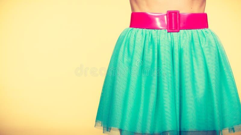 Różowy pasek na błękitnej tiul spódnicie obrazy stock