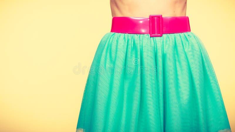 Różowy pasek na błękitnej tiul spódnicie zdjęcia stock