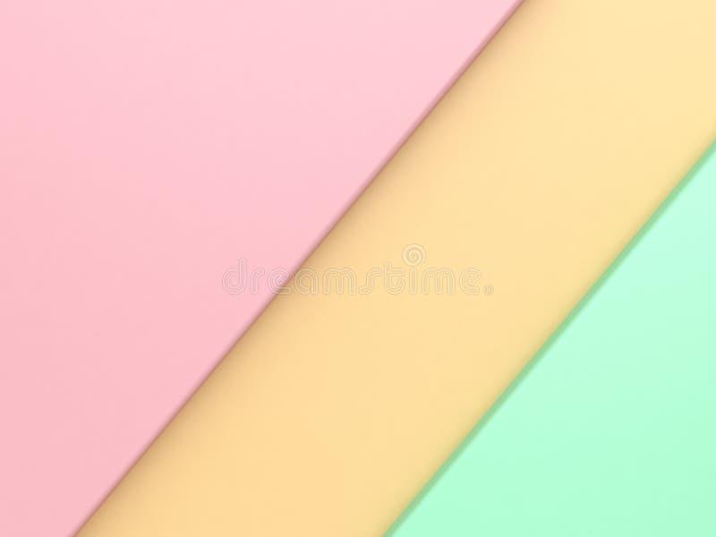 Różowy pastelowy geometryczny kształt przechylający lewego kąta żółtej zieleni dobra minimalny abstrakcjonistyczny tło 3d odpłaca zdjęcia stock