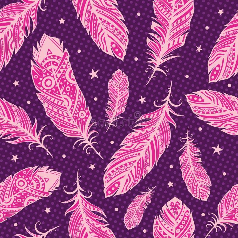 Różowy piórko wzór ilustracja wektor