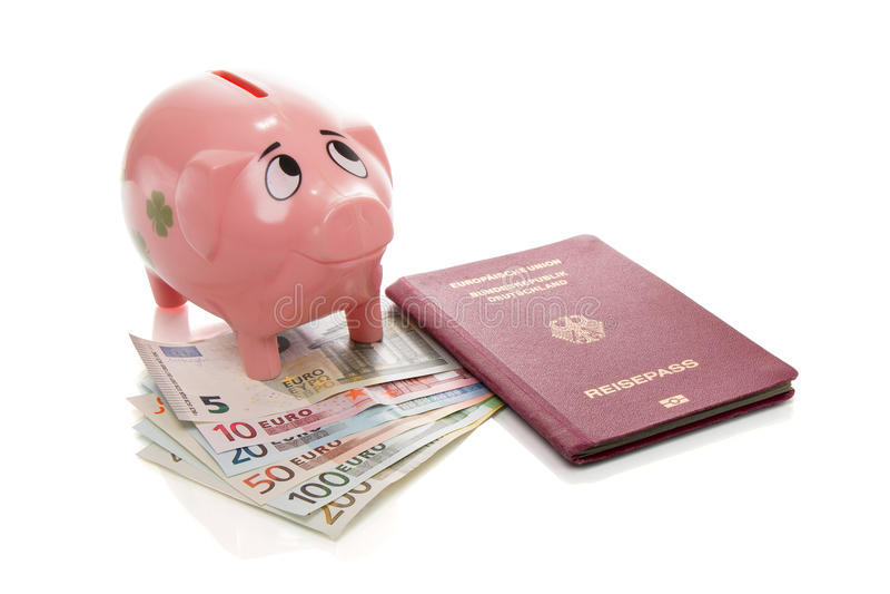Różowy pieniądze pigg z euro zdjęcie stock