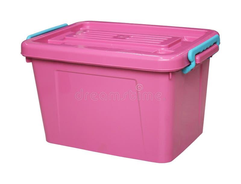 Różowy plastikowy pudełko odizolowywający na bielu z clippingpath obraz stock