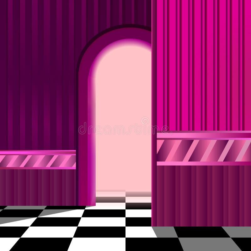 Różowy pokój z szachową podłoga również zwrócić corel ilustracji wektora ilustracja wektor