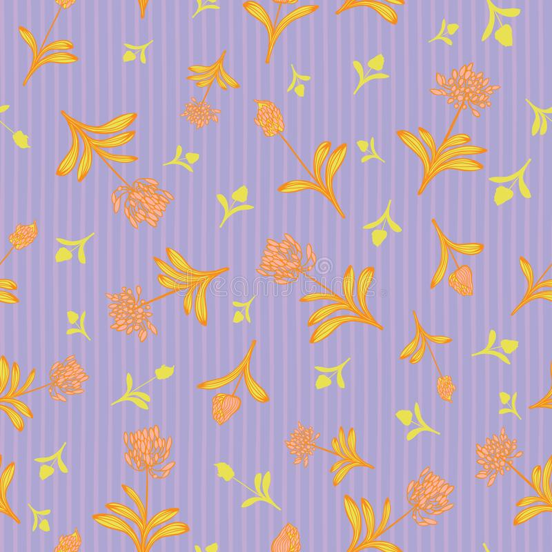 Różowy pomarańczowy afrykanina kwiat na purpurach lilly paskuje tła lata wektoru kwiecistego bezszwowego wzór dla tkaniny ilustracja wektor