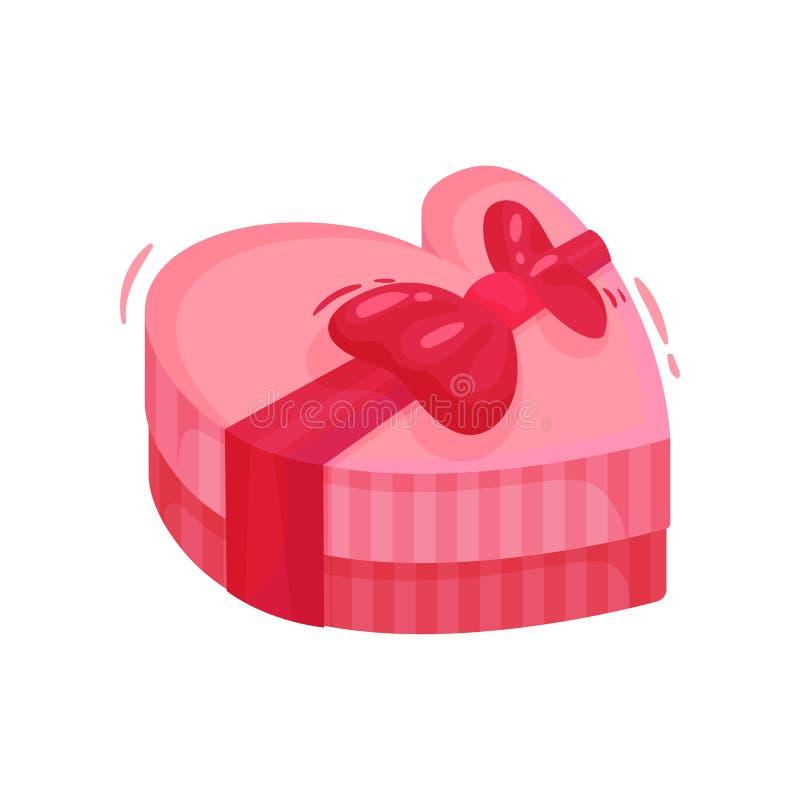 Różowy prezenta pudełko w kształcie serce z łękiem obecne wakacje miłości mężczyzna sylwetek tematu kobieta Płaski wektor dla wal royalty ilustracja
