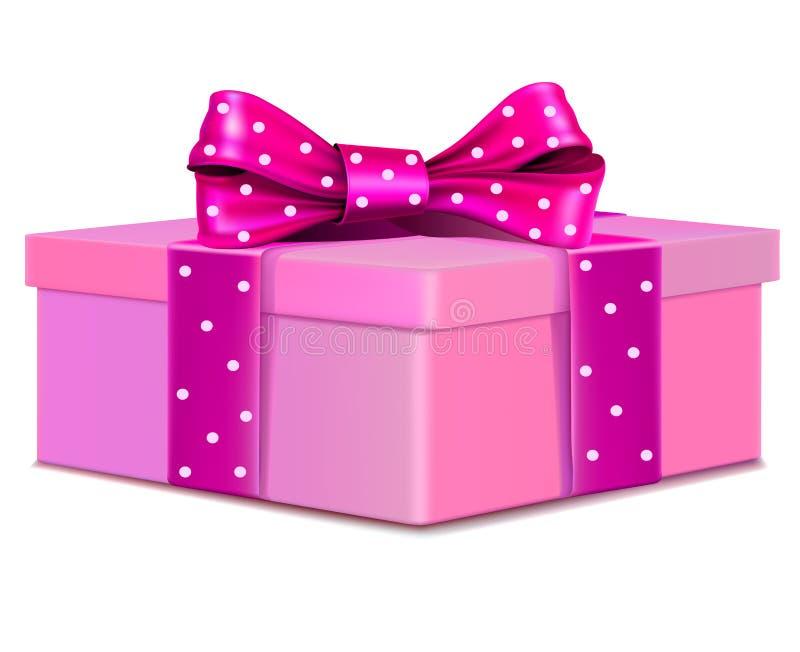 Różowy prezenta pudełko z polki kropki łękiem ilustracja wektor