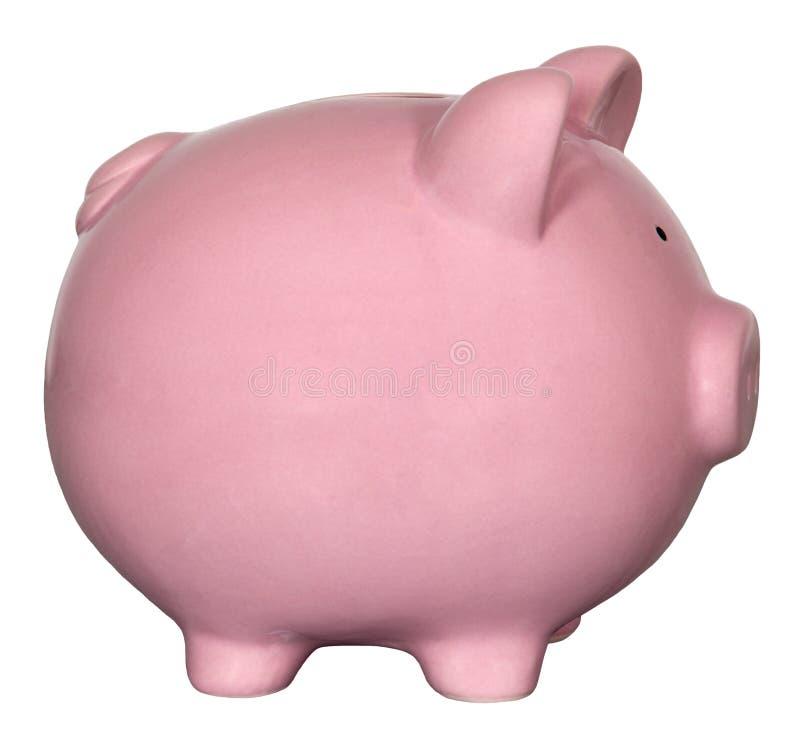 Różowy prosiątko bank Odizolowywający obrazy stock