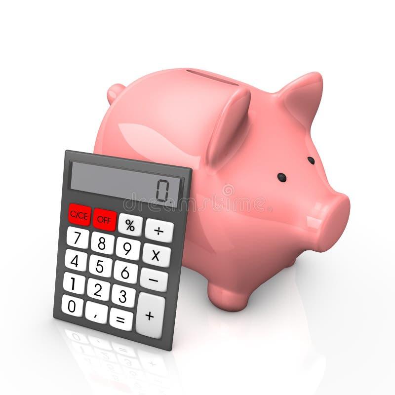 Prosiątko banka kalkulator ilustracji