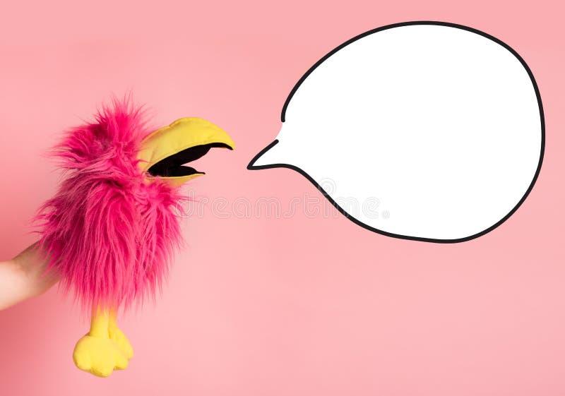 Różowy ptak w ręka płaczu biały bąbel dla reklama teksta fotografia royalty free