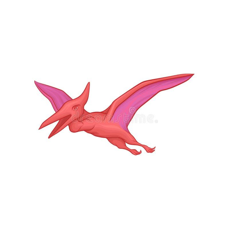 Różowy pterodaktyl w latającej akci Kreskówka dinosaura prehistoryczny charakter z dużymi skrzydłami Antyczny Jurajski gad royalty ilustracja