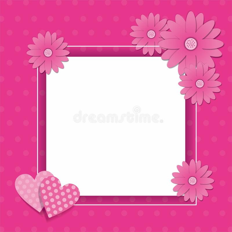Różowy ramowy projekt z kwiatu i serca dekoracją royalty ilustracja