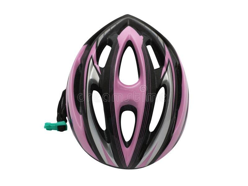 Różowy rowerowy hełma bezpieczeństwo dla cyklisty odosobnienia zdjęcie royalty free