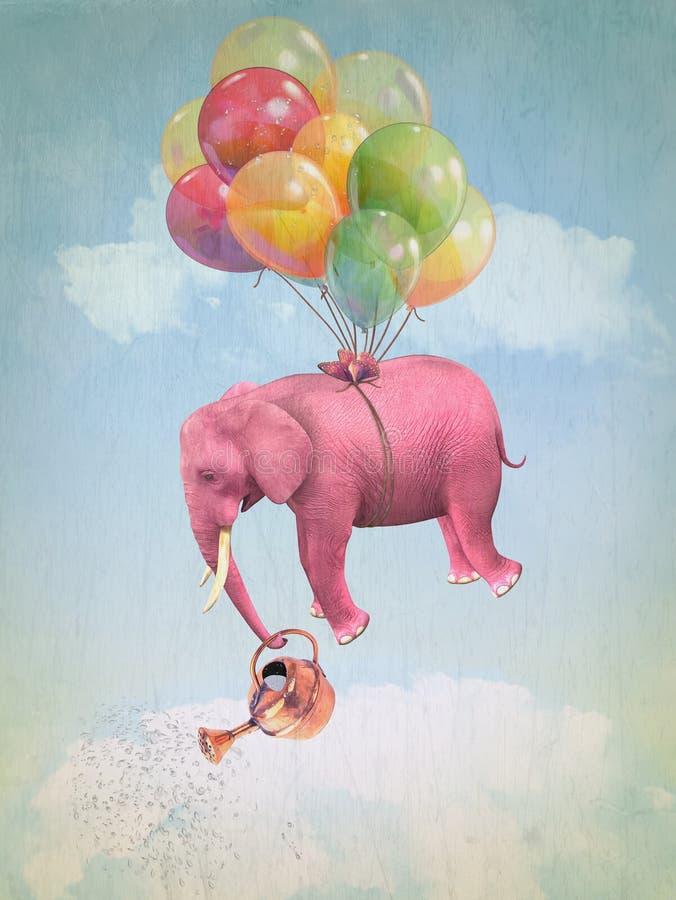 Różowy słoń w niebie ilustracji
