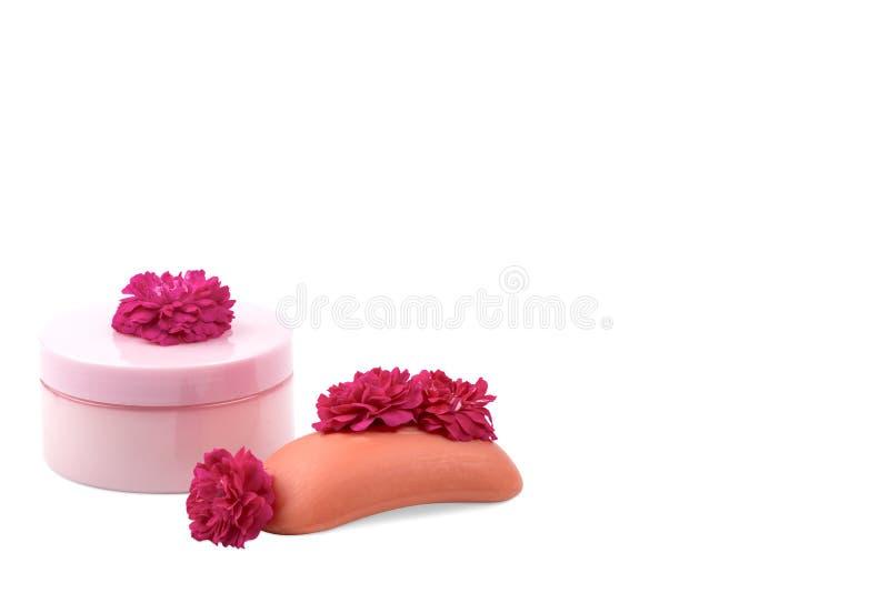 Różowy słoju mockup dla, mydło, rewolucjonistki małe róże na białym tle, i Odosobniony, obrazy stock