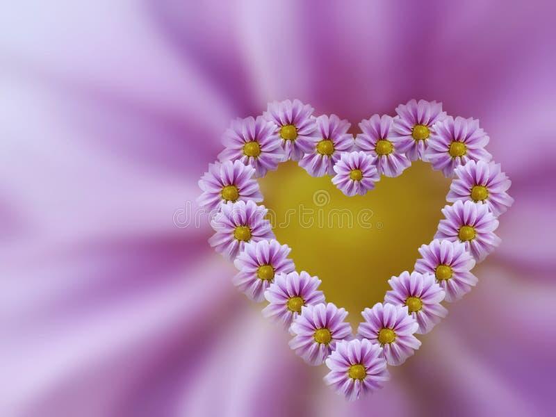 Różowy serce kwiaty na menchiach zamazywał tło wszystkie jakaś składu elementów kwieciste ilustracyjne indywidualne przedmiotów s royalty ilustracja