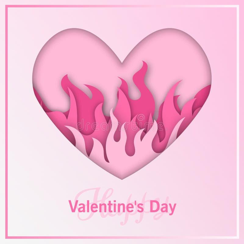 Różowy serce na Pożarniczej ilustraci ilustracja wektor